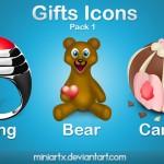 Иконки ico и png. Игрушки, подарки, пироженое, кольцо, медвежонок, сердечко, праздник.