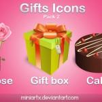 Иконки ico и png. Подарки, цветы, торт, праздник, коробка