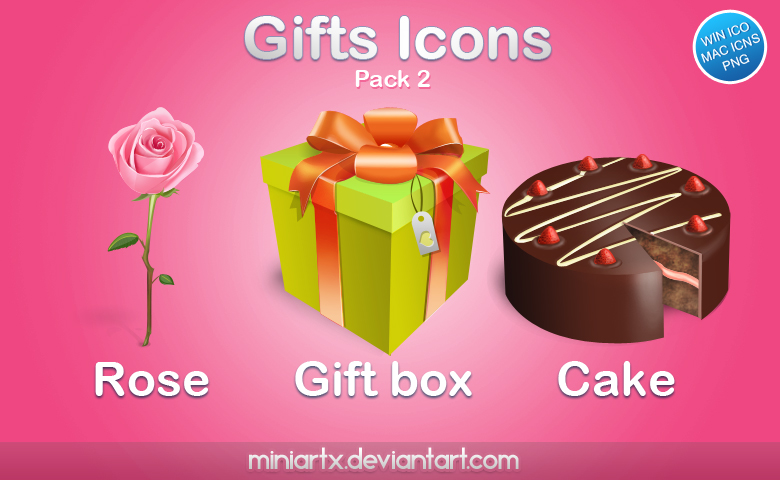 иконки, формат ico, png, подарки, день рожденья, праздник, торт, коробка, бант, подарок, цветы, роза