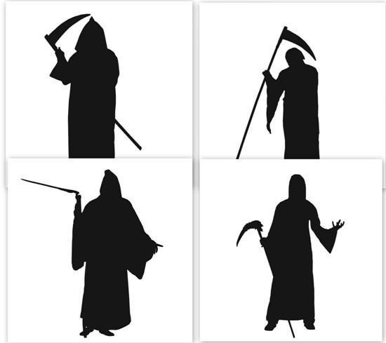 Черно белые картинки: Смерть с косой. Силуэт. Трафарет.