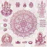 Векторный клипарт индийские боги и символы. Контур.