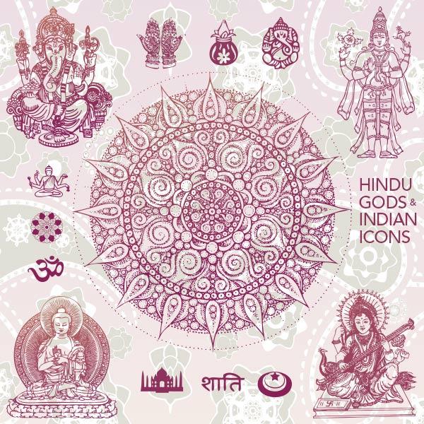Индия,боги,культура,знаки,символы,контур,эскиз,вектор,EPS,SVG,AI,Ганеша, Сарасвати