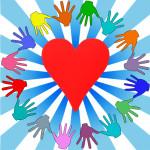 Логотип волонтеры, добровольцы в векторе.