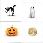 Иконки Хэллоуин. Приведение, тыква, черная кошка, луна.