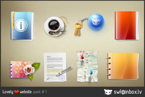 Блокнот, кофе, ручка, цветок, ключи. Иконки PNG.