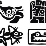 Этнические узоры. Рисунки Майя в векторе. Лягушка. Крокодил.