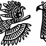 Этнические узоры Майя в векторе. Птицы.