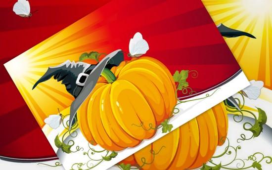 Картинка Хэллоуин. Тыква, шляпа, бабочки. Векторное изображение.