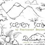 Рисунки карандашом растений, облаков, гор, листьев. Кисти для фотошопа.