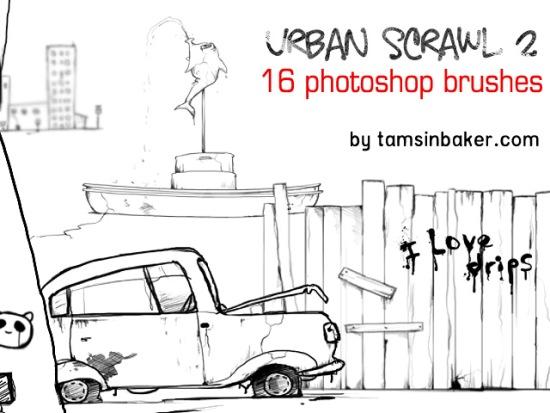 рисунок карандашом забора, машины, здания, кисти для фотошоп