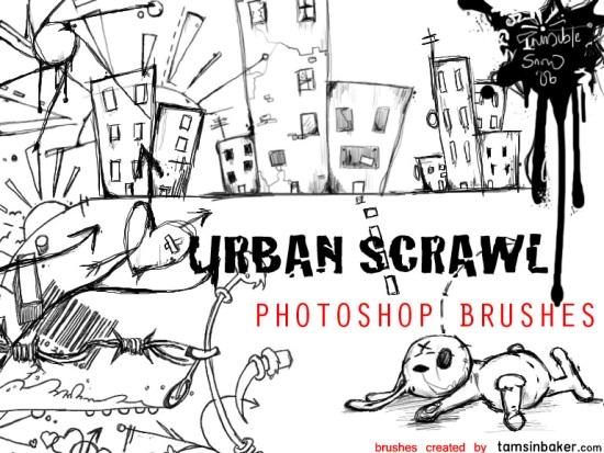 Контурные рисунки домов, игрушки зайца, солнца, стрелок карандашом. Кисти для фотошоп.