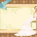 Свадебная рамка с рисунком невесты в векторе