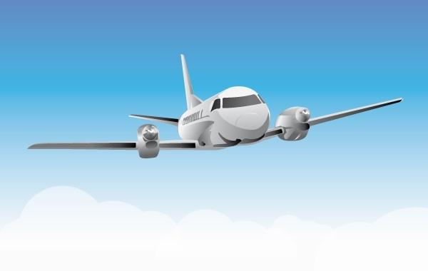 Летящий в небе самолет в векторе