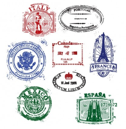 штампы, печати, Эйфелева башня, Италия, Франция, Испания, Мексика, Португалия, в векторе, формат EP, векторные