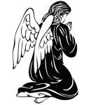 Ангел на коленях. Молящийся ангел. Рисунок.