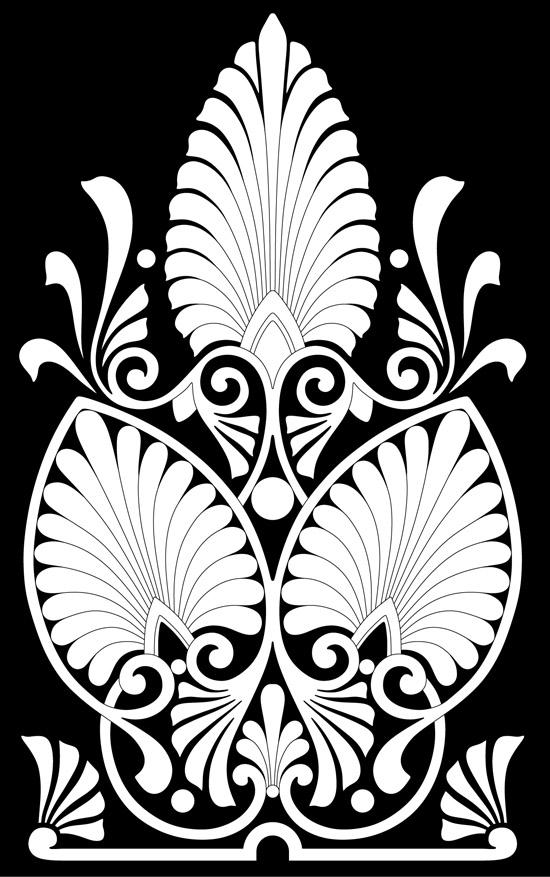 Древнегреческий орнамент в виде листьев. Вектор.