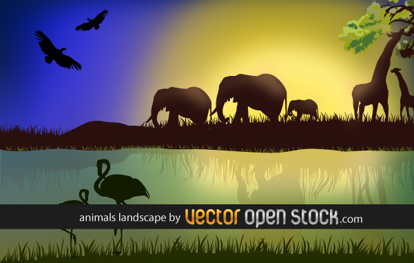 Африка, африканский пейзаж, фламинго, слоны, в векторе, AI