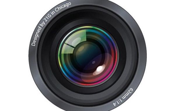 фотоаппарат, объектив,  рисунок в векторе, AI