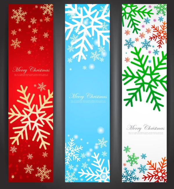 Зимние баннеры со снежинками в векторе
