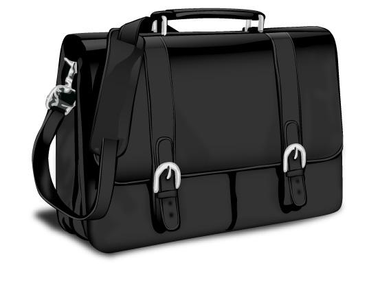 Кожаный портфель в векторе.