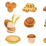 Хлеб, пирожные, тосты в векторе