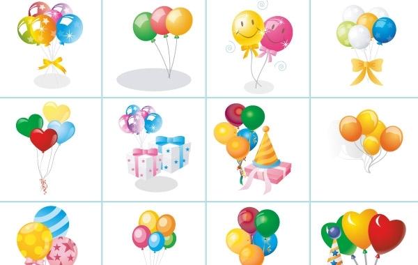 воздушные шары, праздник, праздничные открытки с шарами, векторные рисунки,  AI