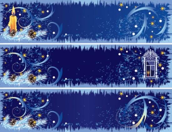 Новый год, Рождество, вьюга, свеча, баннеры, окно, зима, ночь, баннеры в векторе, EPS