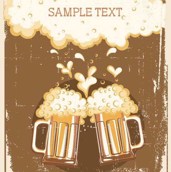 Пиво ретро стиль в векторе.