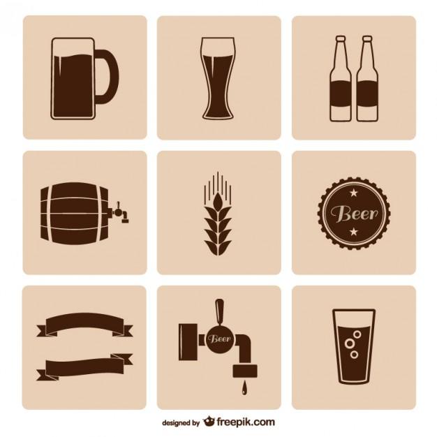 бочка, бутылки пива, бокал с пивом, значки в векторе,  AI, EPS