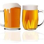 Две кружки пива в векторе.