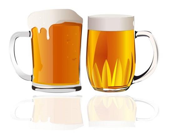 пиво, кружки с пивом, рисунок в векторе,  EPS
