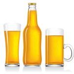 Бутылка пива, бокал и кружка в векторе.