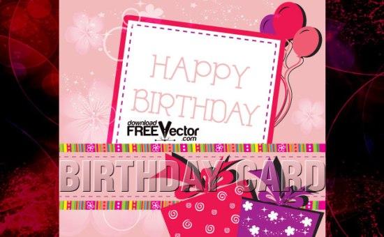Открытка С днем рождения! в векторе
