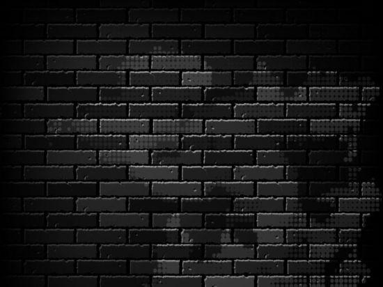 Черная кирпичная стена. Кирпичи. Векторный фон.