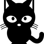 Черная кошка в векторе. Силуэт, трафарет.