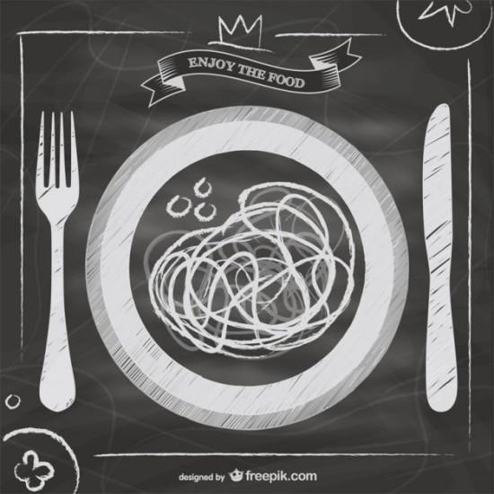 Черно - белый рисунок тарелки, ножа , вилки в стиле гранж.