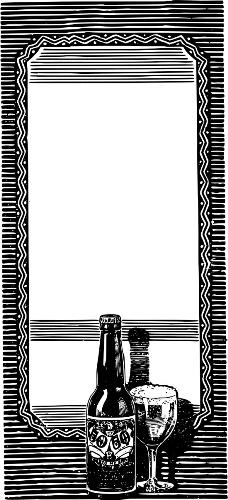Рамка с бутылкой пива в векторе.