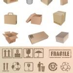 Картонная упаковка и значки в векторе