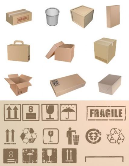коробки, упаковка, картон, картонная упаковка, значки для груза, рисунок в векторе, формат EPS
