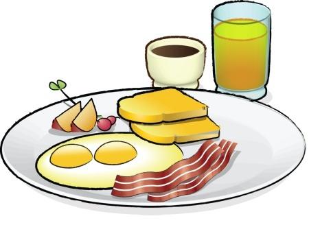 Завтрак, еда: тарелка с яичницей, беконом, тостами, а так же сок и кофе. Вектор.