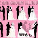 Изображение жениха и невесты для свадебных приглашений. Силуэты в векторе.