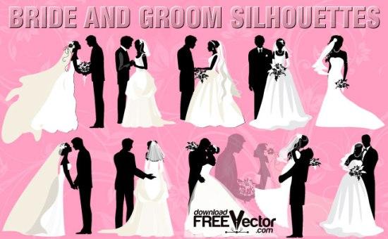 свадьба, жених, невеста, свадебное платье, фата, свадебные приглашения, силуэты в векторе, AI, EPS, трафарет, картинки