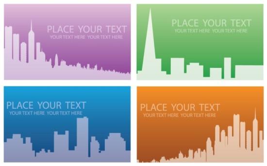 Макеты визиток с силуэтами зданий в векторе