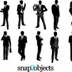 Векторный клипарт Бизнес, бизнесмен. Силуэт мужчины, черно-белая картинка.