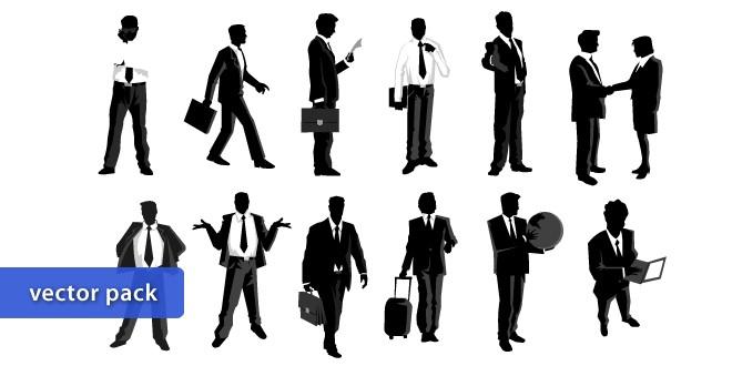 Черно - белый вектор бизнесмен, бизнес, предприниматель. Клипарт.