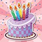 Торт со свечками в векторе.