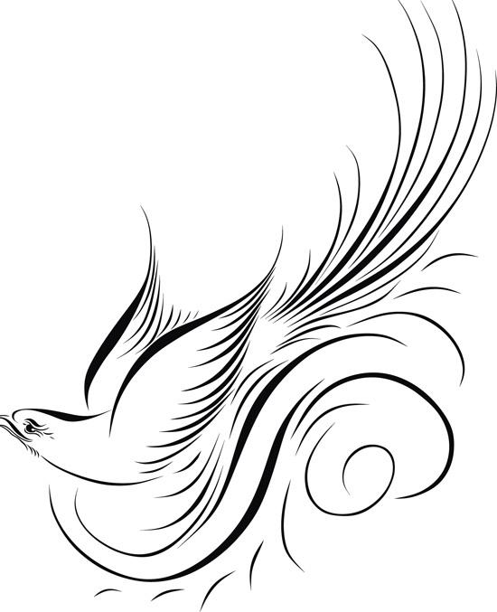 Черно-белый рисунок птицы в векторе.