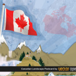 Фон Канада в векторе. Флаг Канады.