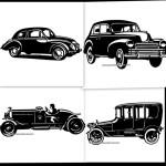 Старинные автомобили.  Силуэт, трафарет.