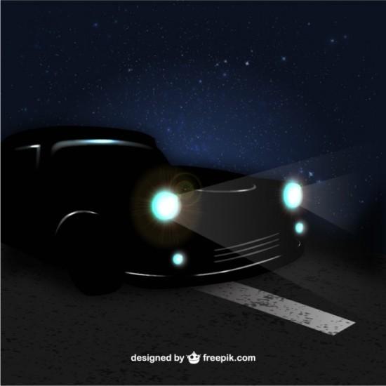 Машина ночью на дороге в векторе